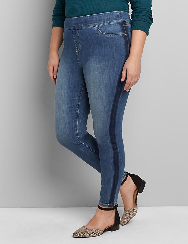 High-Rise Pull-On Jegging - Medium Wash Side Stripe