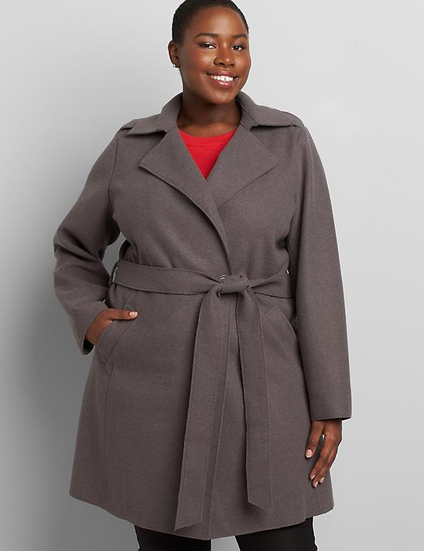 Belted Wrap Coat With Epaulettes