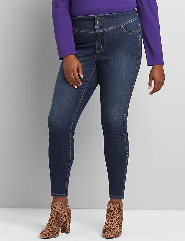 High-Rise 3-Button Jegging - Side Stripe Embellishment
