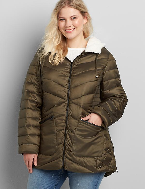 Sherpa-Lined Hood Shirred-Side Packable Puffer Jacket
