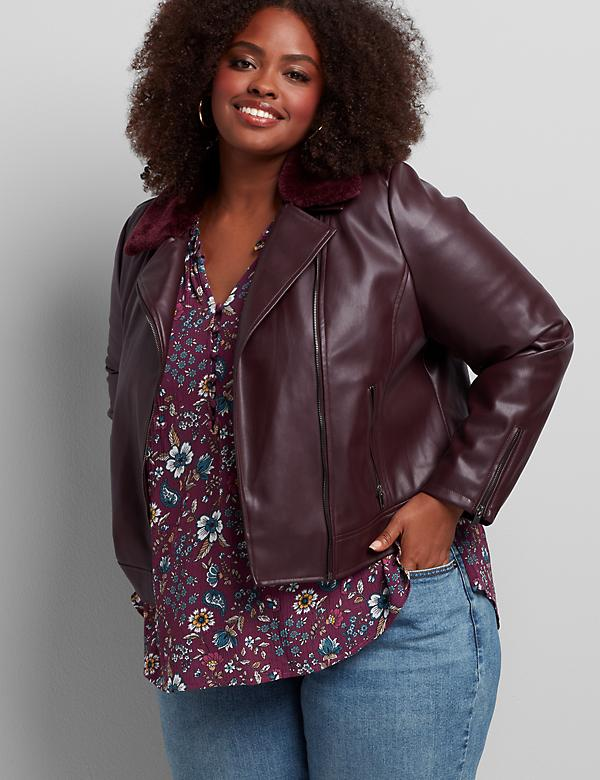 Faux-Leather Moto Jacket With Removable Faux-Fur Collar