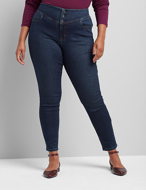 High-Rise 3-Button Jegging - Dark Wash