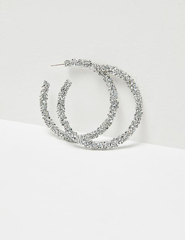 Glitter Rock Hoop Earrings - Silvertone
