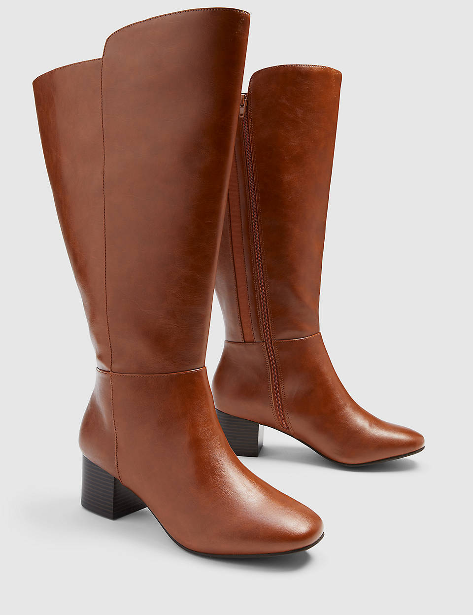 plus size fall knee high cognac boots