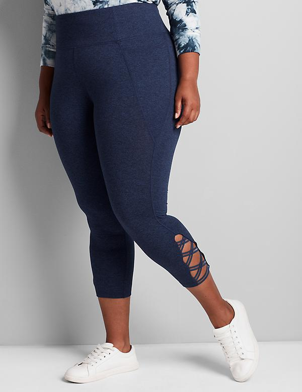 LIVI Marled 7/8 Power Legging With Wicking - Strappy Hem