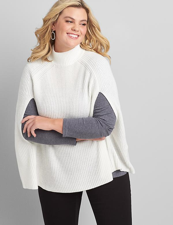 Mock-Neck Cape Pullover Sweater