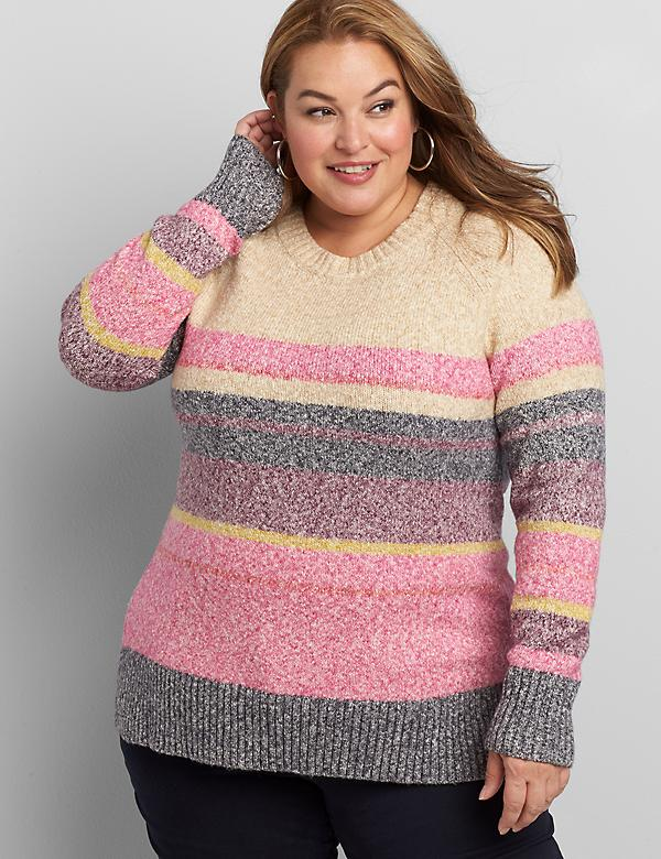 Crew-Neck Marled-Stripe Sweater