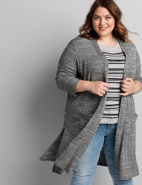 Ribbed Open-Front Duster