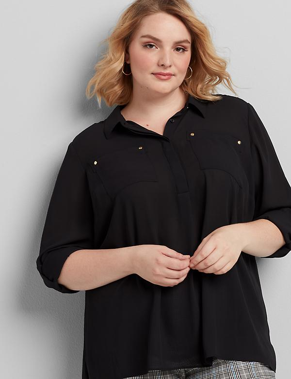 Convertible-Sleeve Chiffon Top