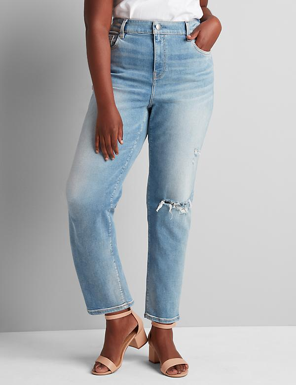 Signature Fit High-Rise Girlfriend Straight Jean - Light Wash With Destruction