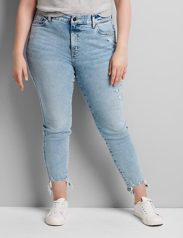 Curvy Fit High-Rise Skinny Jean - Light Wash With Destruction