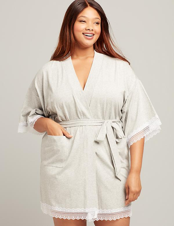 Knit Lace-Trim Robe
