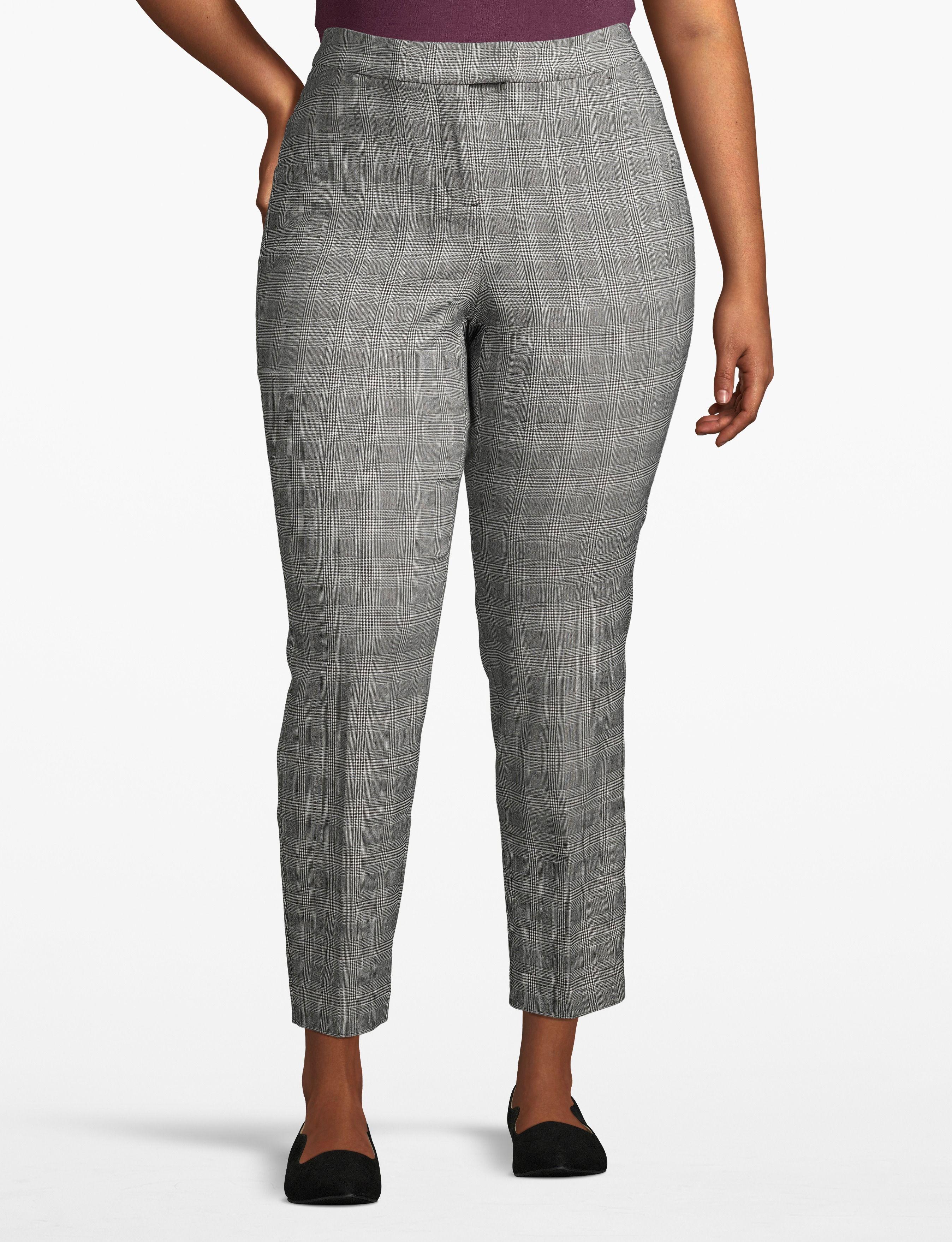 lane bryant women's lane essentials madison ankle pant - plaid 28 black/white glenplaid