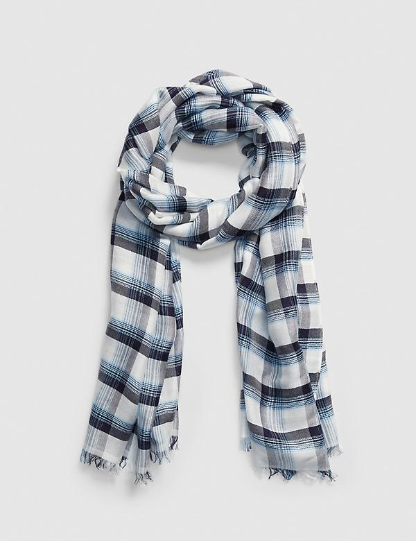 Blue & White Plaid Scarf