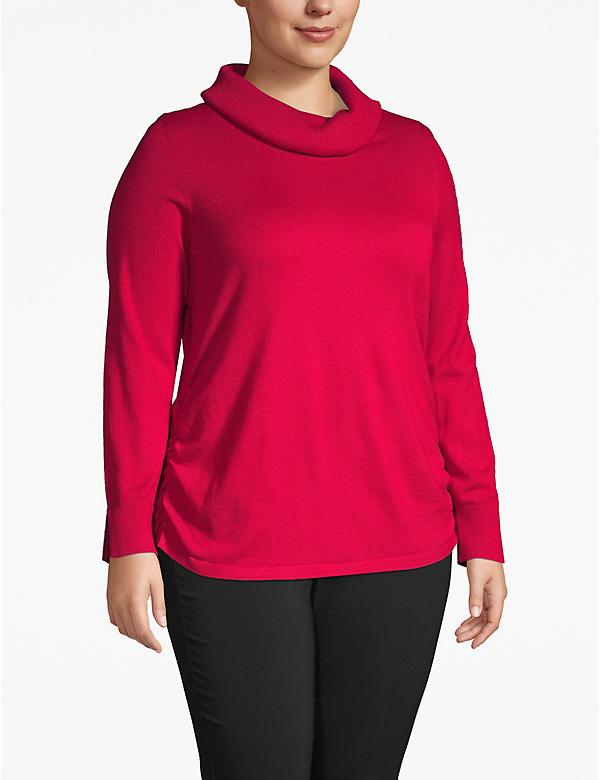Side-Ruched Cowl-Neck Sweater