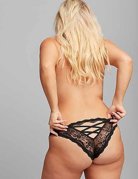 Lace Strappy-Back Tanga Panty