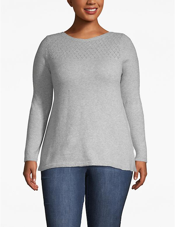 Pointelle Knit Boat Neck Sweater
