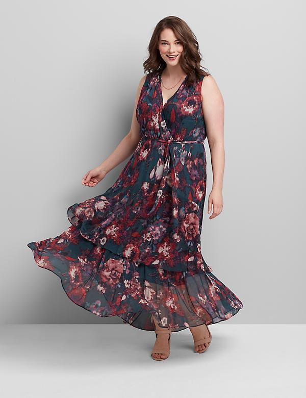 Crossover High-Low Maxi Dress