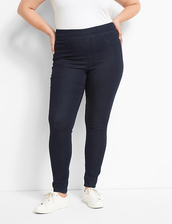 High-Rise Sateen Pull-On Jegging - Dark Rinse Wash