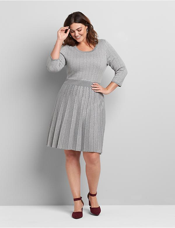 Perfect Sleeve Fit & Flare Sweater Dress