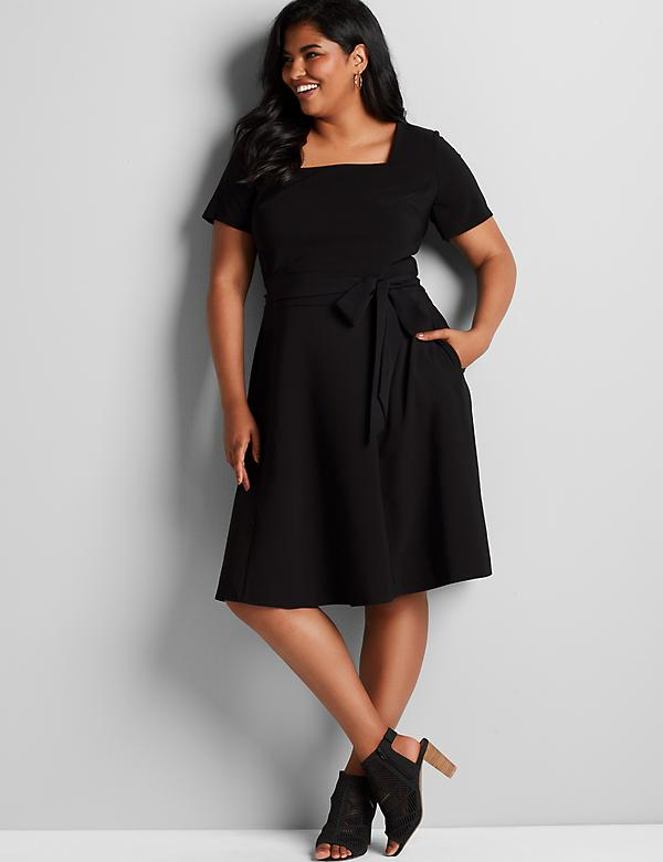 Lena Square-Neck Fit & Flare Dress