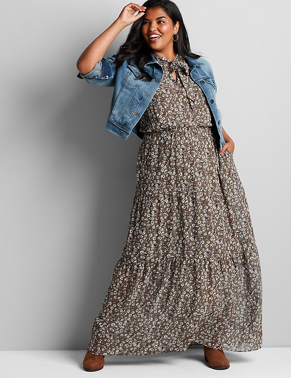 Tie-Neck Floral Maxi Dress