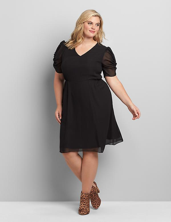 Chiffon Ruched-Sleeve Fit & Flare Dress