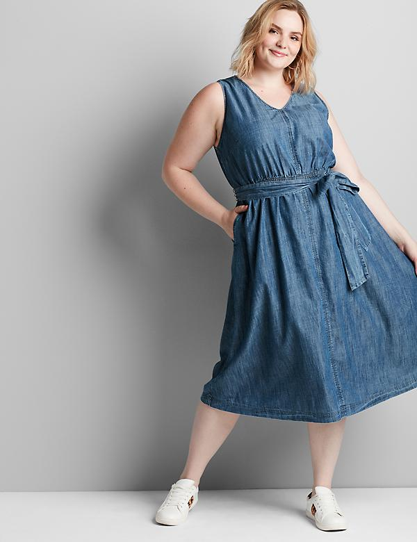 Sleeveless Chambray Midi Dress