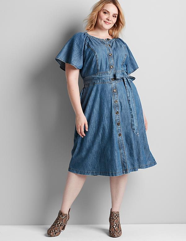 Chambray Button-Front Fit & Flare Dress
