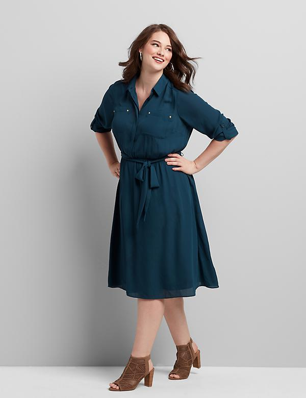 Button-Front Fit & Flare Dress