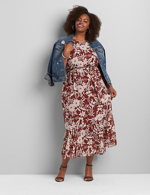 Floral Ruffle-Hem Maxi Dress