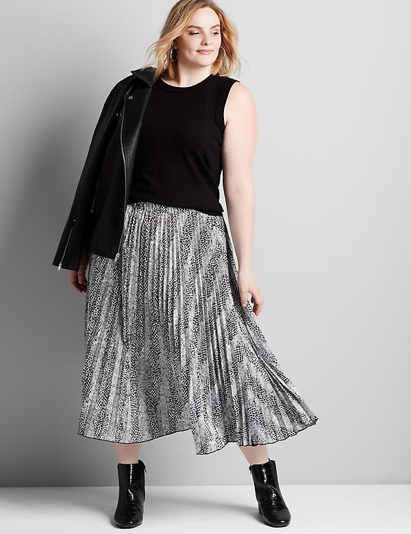 Mixed-Print Pleated Midi Skirt