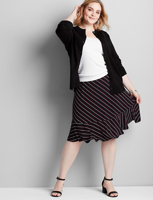 Knit Kit Striped Ruffle-Hem Skirt