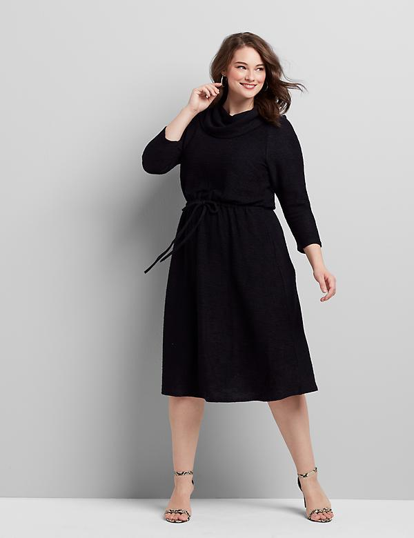 Cowl-Neck Fit & Flare Dress