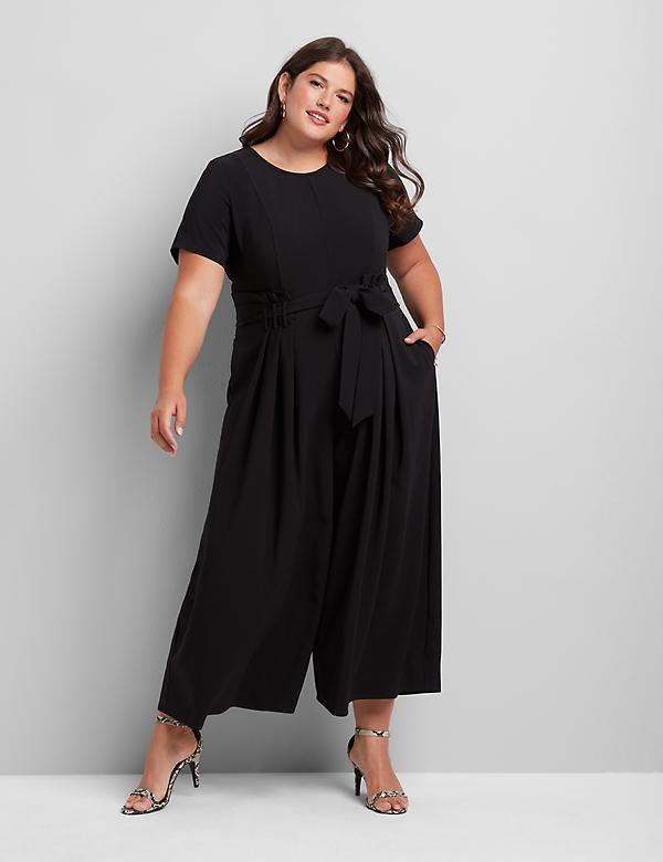 Lena Short-Sleeve Jumpsuit