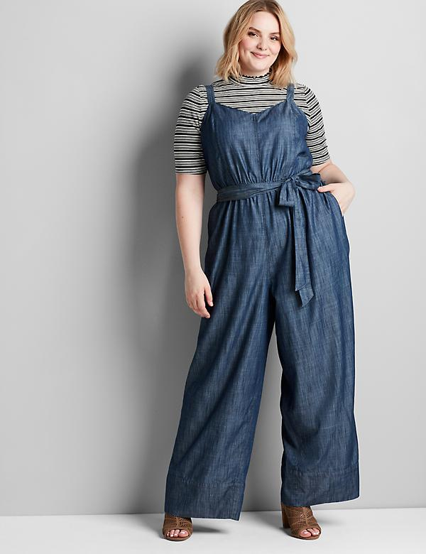 Sleeveless Chambray Ankle Jumpsuit
