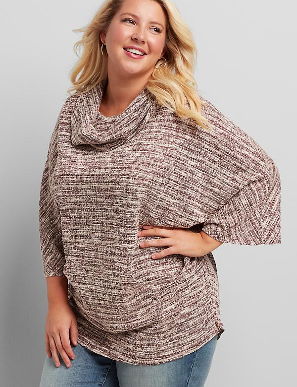 Cowl-Neck Boucle Poncho