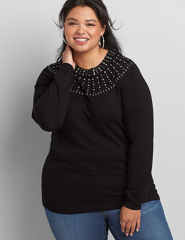 Rhinestone-Embellished Sweater