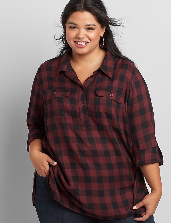 Checkered Button-Front Tunic Top