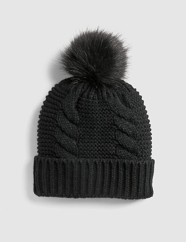 Cable-Stitch Beanie With Faux-Fur Pom Pom