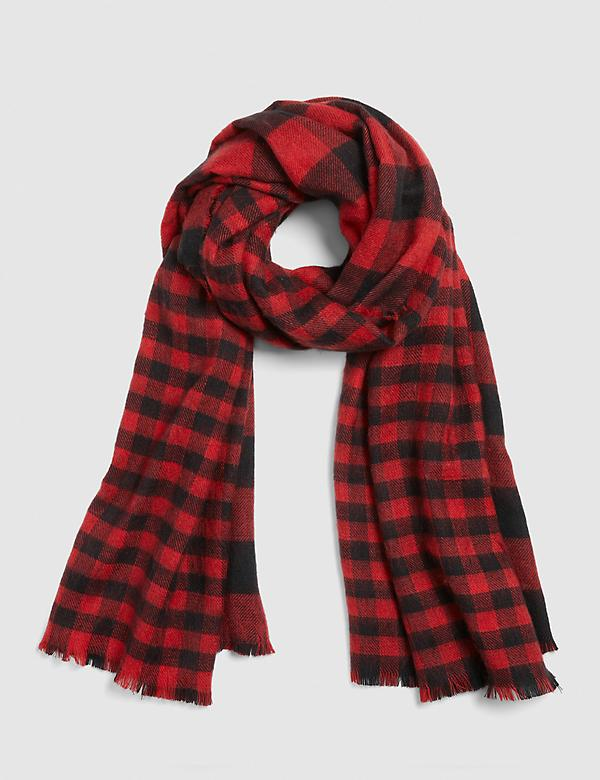 Reversible Red & Black Plaid Scarf