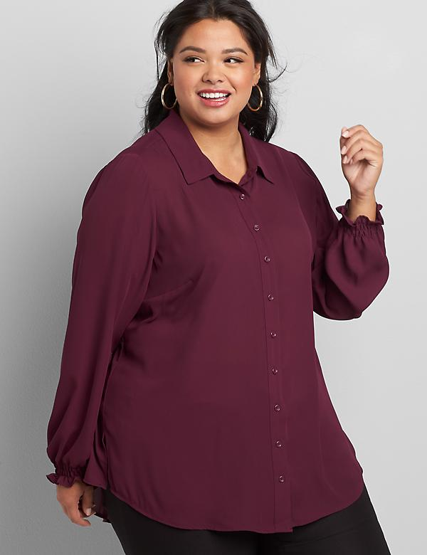 Button-Front Shirred-Cuff Soft Shirt