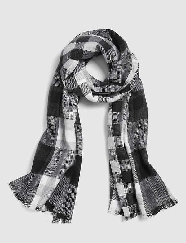 Reversible Black & White Plaid Scarf