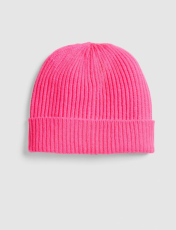 Pink Ribbed Knit Beanie