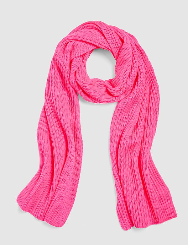 Pink Ribbed Knit Scarf