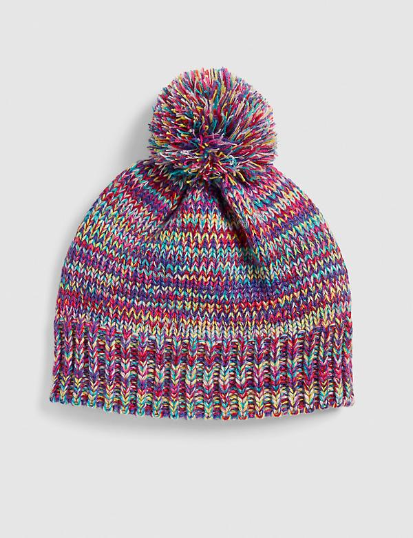 Multi-Color Marled Beanie With Pom Pom