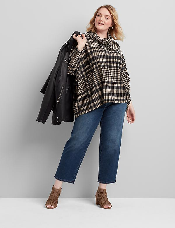 Plaid Cowl-Neck Poncho