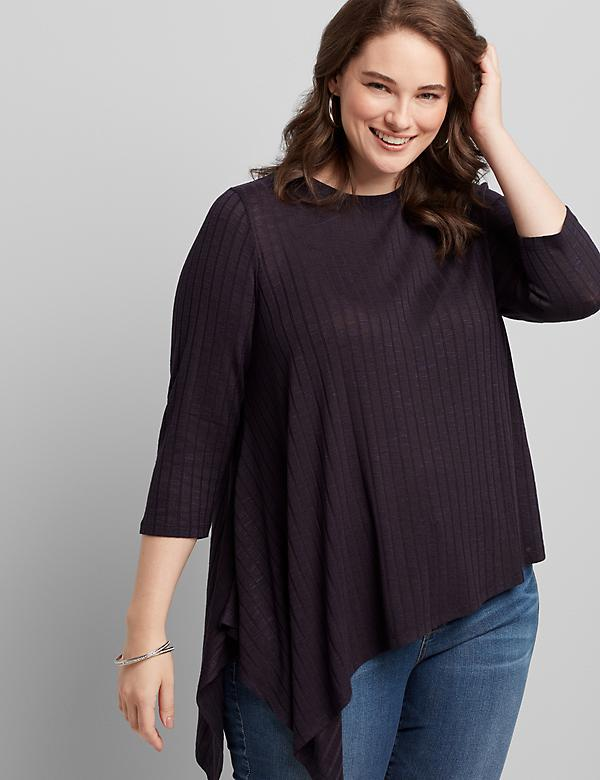 Asymmetrical-Hem Ribbed Top