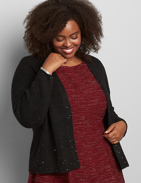 Open-Front Sequin-Embellished Cardigan