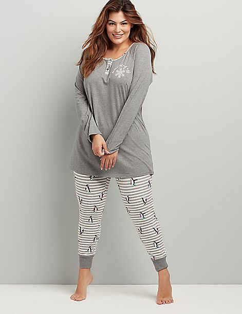 Henley Long-Sleeve Top & Legging PJ Set